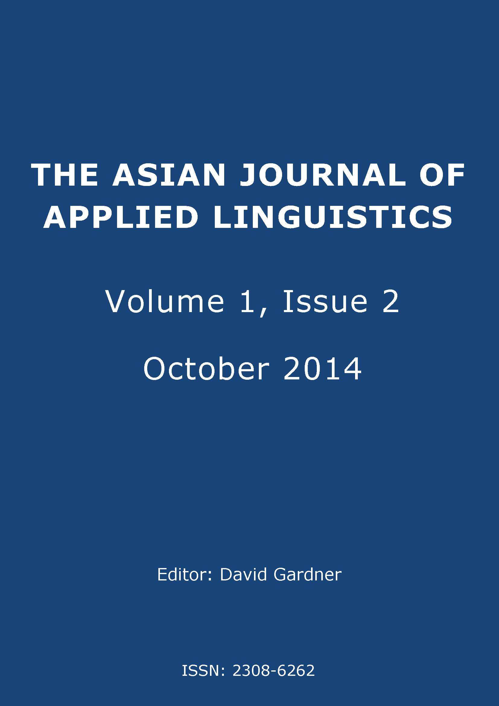 The Asian Journal of Applied Linguistics. Volume 1. Issue 2. October 2014