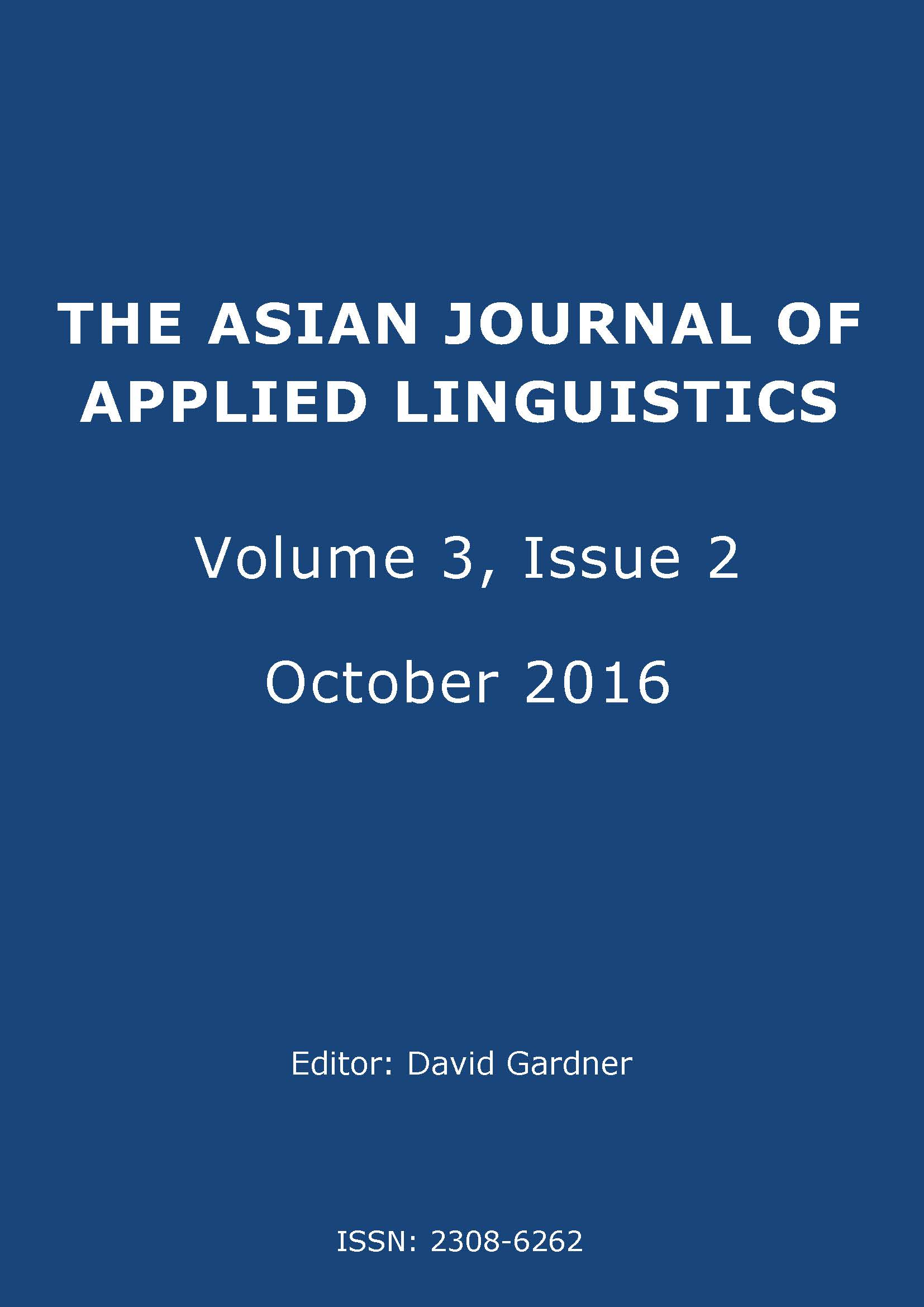 The Asian Journal of Applied Linguistics. Volume 3. Issue 2. October 2016