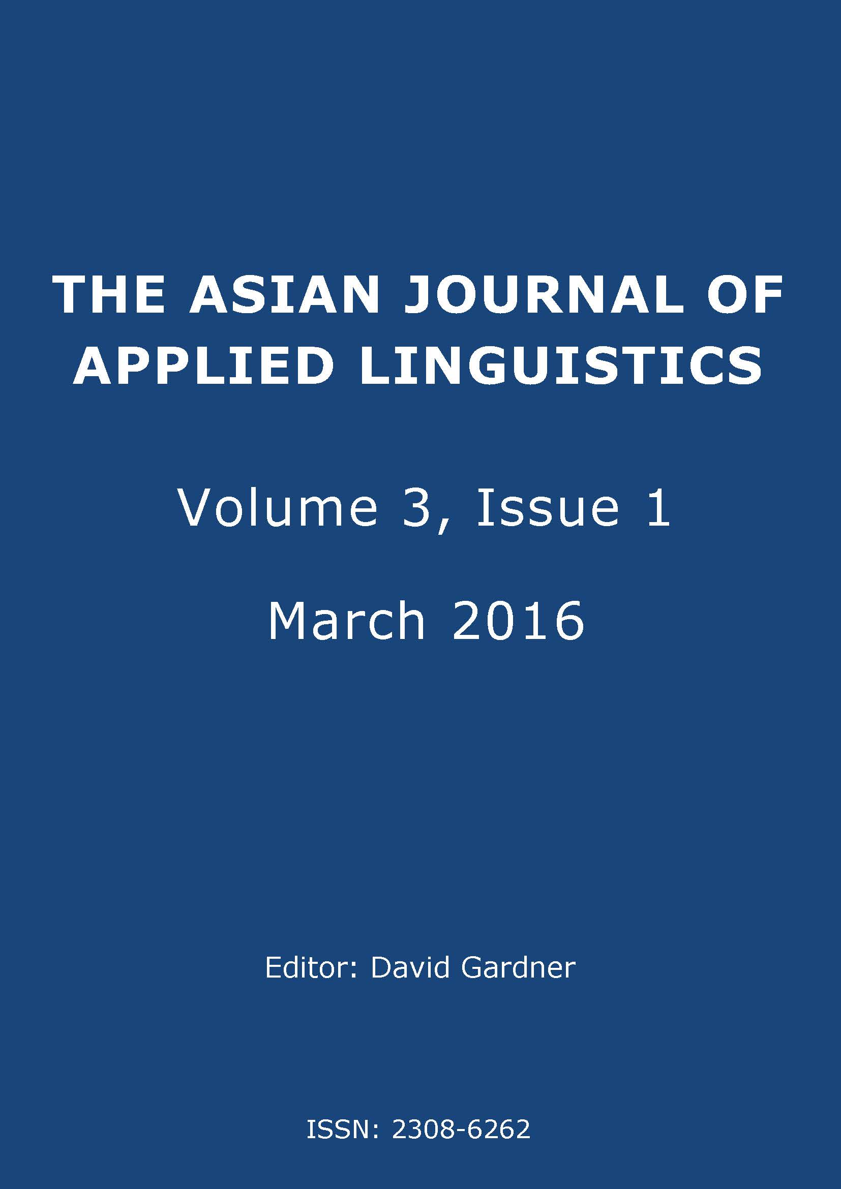 The Asian Journal of Applied Linguistics. Volume 3. Issue 1. March 2016