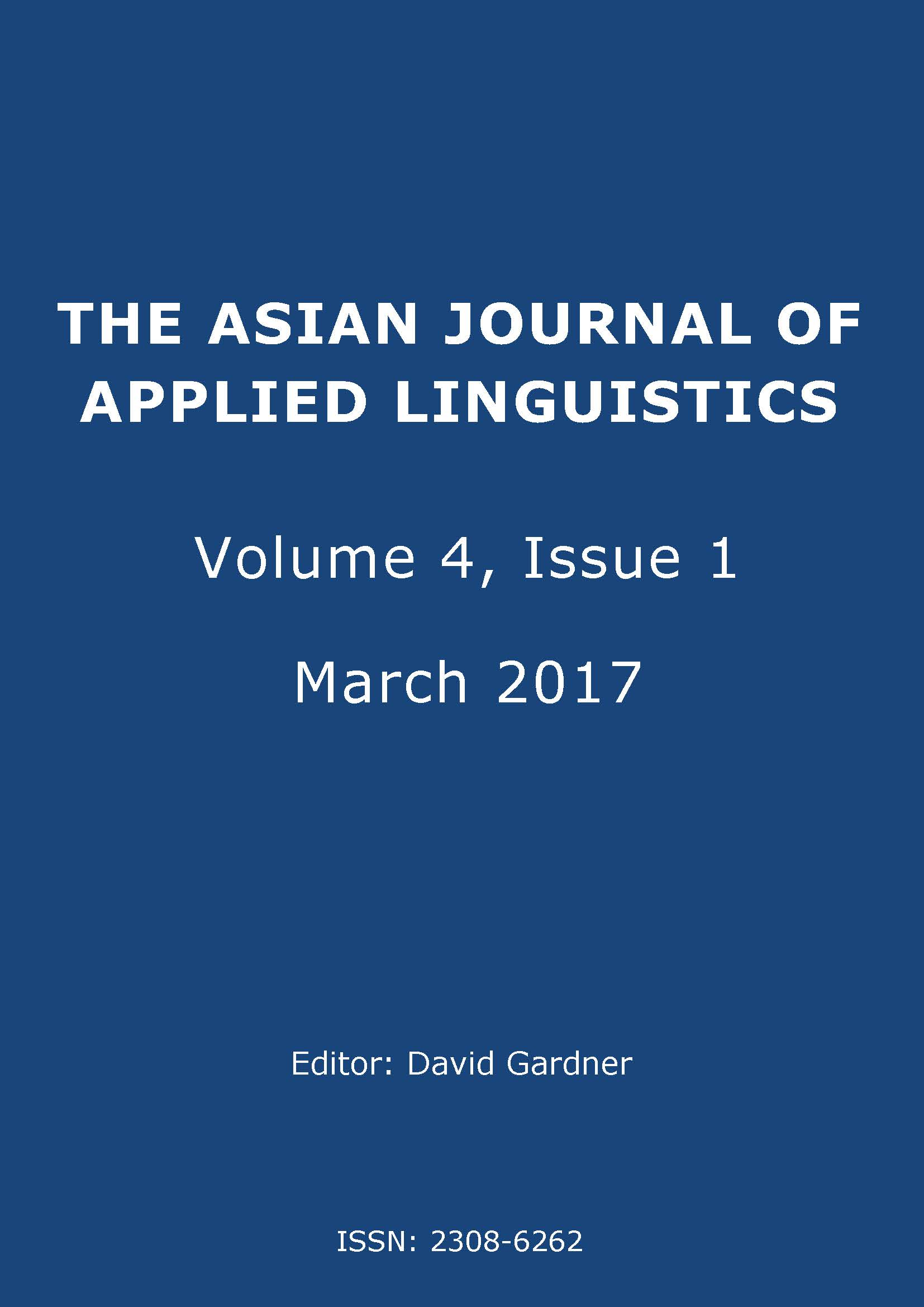 The Asian Journal of Applied Linguistics. Volume 4. Issue 1. March 2017