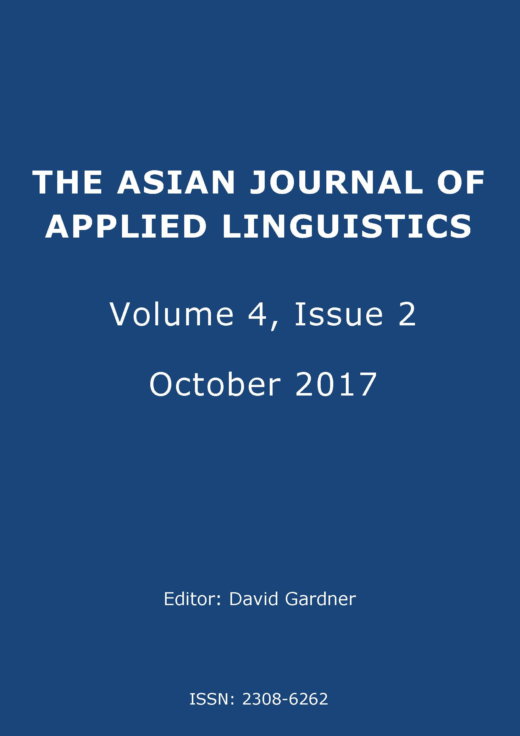 The Asian Journal of Applied Linguistics. Volume 4. Issue 2. October 2017