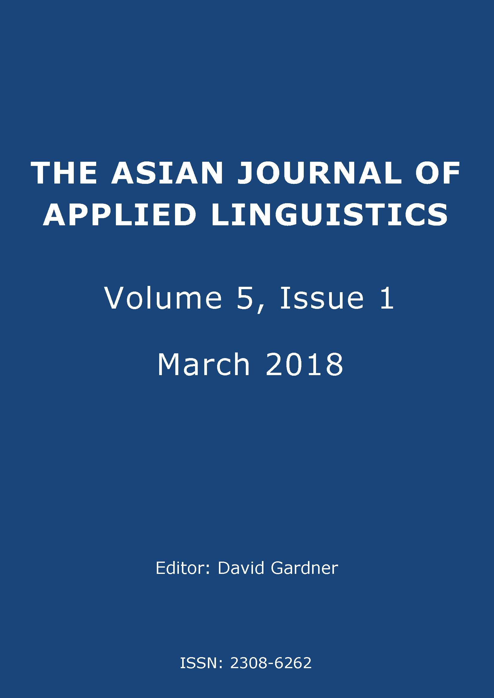 The Asian Journal of Applied Linguistics. Volume 5, Issue 1.